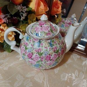Vintage Norcrest Fine China Teapot Roses & Violets